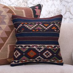 "Ethnic Blue Kilim Pillow 16"" Fine Turkish Rug Cushion ... Cushions On Sofa, Kilim Pillows, Boho Cushions, Kilim Rugs, Retro Sofa, Eclectic Rugs, Traditional Rugs, My Living Room, Hand Weaving"