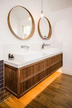 cool bathroom designs floating vanity wood modern vessel sinks round wall mirrors