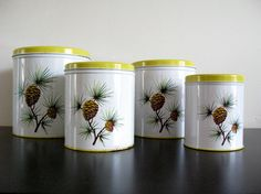 Yellow Decoware Canister Set Pine Cone Canisters Kitchen by Sfuso