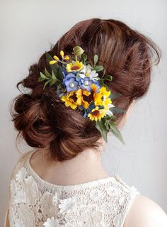 sunflower hair comb, yellow and blue wedding, floral hair accessories by thehoneycomb