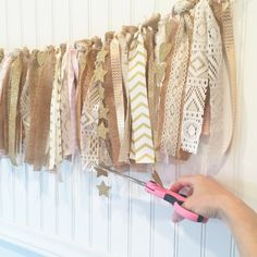 Holly's Rag Garland Tutorial – Model Behaviors Burlap Garland, Ribbon Garland, Fabric Garland, Fabric Bunting, Bunting Garland, Diy Ribbon, Buntings, Burlap Lace, Rag Curtains