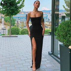 Cryptographic Sexy Women's Maxi Dresses Strap Backless Split Long Dress Fashion Fall 2019 Elegant Ladies Party Club Dresses Club Dresses, Sexy Dresses, Winter Dresses, Sleeveless Dresses, Dress Winter, Mini Dresses, Elegant Dresses, Long Dress Fashion, Women's Fashion Dresses