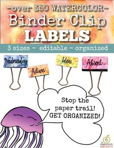 Binder Clip Labels:
