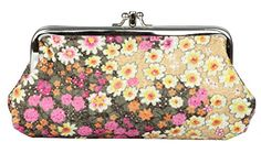 Micom Embroidery Floral Change Interlayer Wallet Purse with Clasp Vintage Cosmetic Pouch Bag