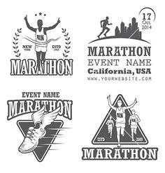 Set of running marathon and jogging emblems, labels and badges. - Stock V , Marathon Logo, Dance Marathon, Jogging, Running Posters, Running Club, Trail Running, Timeline Design, Marathon Runners, School Logo