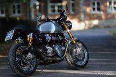 Silver Thruxton R Custom Triumph Cafe Racer, Motorcycle, Vehicles, Silver, Money, Biking, Motorcycles, Vehicle, Engine