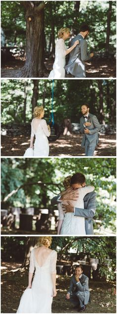 #DavidsBridal bride Taylor sneaks up on husband Alex for this emotional first look.