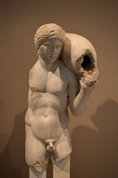 """Archaeological Museum of Thessaloniki: """" Another beautiful fountain statue. It possibly comes from a workshop in Northern Greece, possibly from Thessaloniki. The amphora that the young man is carrying..."""