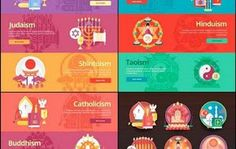 Set of religion vector flat banners. Religions and confessi - 13 EPS