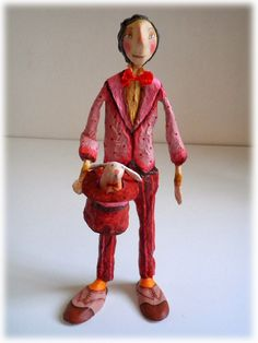 L'illusioniste Paper Clay Art, Paper Mache Crafts, Art Dolls, Ronald Mcdonald, Polymer Clay, Clowns, Love, Diy, Ideas