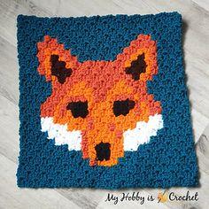 My Hobby Is Crochet: Free Crochet Pattern: 'Lava Fox' Square - Wildlife Graphghan CAL C2c Crochet, All Free Crochet, Crochet Squares, Crochet Hooks, Crochet Afghans, Crochet Pillow, Blanket Crochet, Single Crochet, Manta Animal