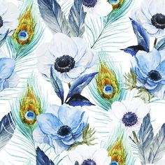 Poppies and Peacocks | Removable Wallpaper | WallsNeedLove