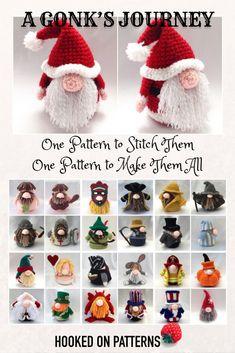 Free Gonk Crochet Patterns - A Gonk's Journey. Start the epic journey at HookedOnPatterns.com. One pattern to make them all! #gonk #santa #doll #cute #Crochet #freecrochet #crochetblogger #crochetblog #bloggers #Amigurumi #freecrochetpatterns #HOP #crocheter #lovecrochet #yarn #etsy #Ravelry #loveyarn #wizard #bunny #biker #fisherman #Crocheting #Crocheted