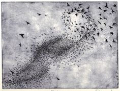 Flock, an original hand pulled etching. $80.00, via Etsy.