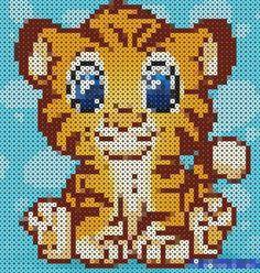 Perler Bead Designs, Diy Perler Beads, Perler Bead Art, Hama Beads Patterns, Beading Patterns, Beaded Cross Stitch, Cross Stitch Patterns, Photo Tigre, Image Tigre