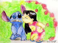 Lilo et Stitch, dessin, aquarelle