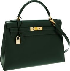 Hermes 32cm Vert Fonce Calf Box Sellier Kelly Bag with Gold Hardware