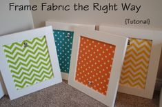 Framing fabric tutorial- I love fabric in place of a mat! Quilt samples...