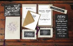 Eco-Industrial Chalkboard + Linen Wedding Invitations | Design and Photo Credits: Blue Magpie