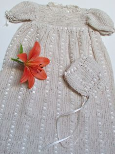 Baby Christening Gown with Bonnet Handmade Vintage Style Baby Set in Antique White