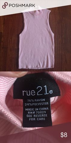 Rue 21 mock turtleneck sleeves top size medium The color is difficult to describe so here goes the shirt is a stretchy tight fit mock turtle neck that sits at the waist and is light pink in color. The brand is Rue 21 only tried on never worn. Bundle and save$$$ Rue21 Tops