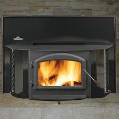 Napoleon Porcelain Black Woodburning Fireplace Insert with Black Door - EPI-1402K | Northline Express, $2619