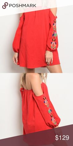 VAVA BY JOY HAN RED EMBROIDED DRESS NEW WITH TAGS  VAVA BY JOY HAN Long sleeve off the shoulder shift dress that features embroidered detailed sleeves. 100% COTTON Vava by Joy Han Dresses Mini