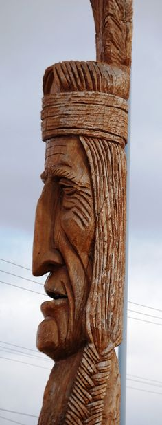 Giant Indian Head wood carving