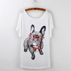 50% OFF - Funky PUG White Tee Shirt, Dog T-shirt - CLICKIT2YOU