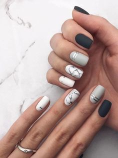 31 Stylish Marble Square Nail Designs Marble nails are a kind of nail art design which imitates the appearance of marble. Nail Art Designs, Square Nail Designs, Marble Nail Designs, Short Nail Designs, Acrylic Nail Designs, Nails Design, Acrylic Nails, Makeup Designs, Matte Nail Art