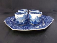 Vintage Spode Blue Italian egg cups and tray RARE - Made in England s1788 | eBay
