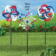 Set of 3 Patriotic Kinetic Wind Spinners