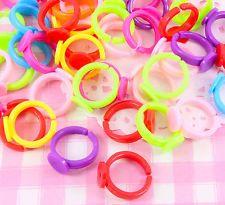 10 pcs plastique enfants multi couleur ring blanks findings jewellery craft