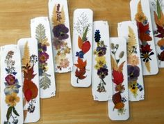 CUSTOM ORDER BOOKMARKS,  Preserved Pressed Flowers and Fall Foliage, Handmade Group Gifts, Original Art Collage. $54.00, via Etsy.