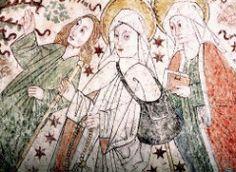 Birgitta som pilgrim. Kalkmålning från Harg kyrka i Uppland. Foto: Lennart Karlsson