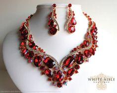 Black Wedding Jewelry Set Crystal Bridal by WhiteAisleBoutique