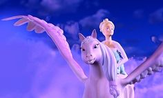 Annika and Brietta flying in the night sky from Barbie and the Magic of the Pegasus