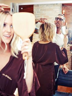 Behind-the-scenes of Kristin Cavallari's hair transformation into a bright, long bob.