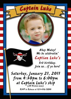 Pirate birthday party invitation by LittleLivy on Etsy, $10.00