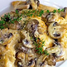 Asiago chicken with mushrooms
