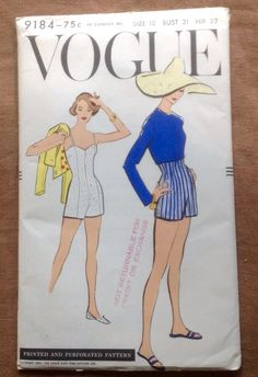 Vogue Sewing Pattern Vintage 1960s Bathing Suit and Bolero size 10 No. 9184
