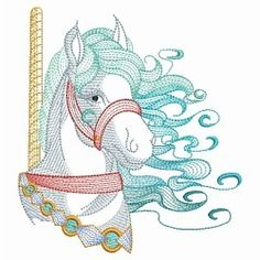 Carousel Horse Set, 8 Designs - 3 Sizes! | What's New | Machine Embroidery Designs | SWAKembroidery.com Ace Points Embroidery