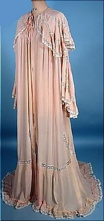 1900 Blush Pink Silk Chiffon and Lace Dressing Gown Slightly Trained Peignoir