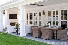 Blue and white classic American style home of BIll and Guiliana Rancic as feautred in Traditional Home magazine Love this back patio off the french doors Outdoor Areas, Outdoor Rooms, Outdoor Dining, Outdoor Patios, Outdoor Kitchens, Indoor Outdoor, Patio Interior, Interior Design, House With Porch