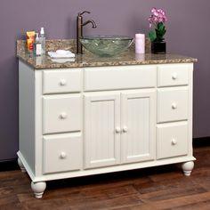 "49"" Daulton Creamy White Vessel Sink Vanity"