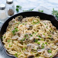 Creamy Garlic Mushroom Pasta Recipe Main Dishes with butter, shallots, button mushrooms, garlic cloves, milk, flour, dried thyme, fresh parsley leaves, salt, pepper, spaghetti, grated parmesan cheese