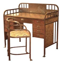 Rare and possibly singular Alpine motif Vienna secessionist 'high' desk or dressing table, with matching chair in brass plated square tubing with oak framed drawers and copper panels with brass pulls, by Joseph Hoffmann, Austria beg. of 20th Cent.