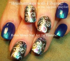 Brushstroke Nail Art with spirals