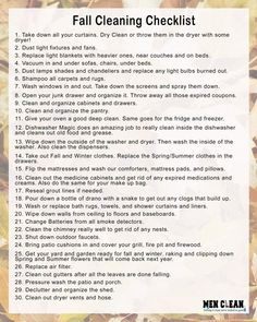 Start your fall cleaning now and use this checklist to have an awesome and squeaky clean house in 2 weeks. Source by sayhellonature cleaning Fall Cleaning Checklist, Deep Cleaning Tips, House Cleaning Tips, Spring Cleaning, Cleaning Hacks, Cleaning Lists, Household Checklist, Cleaning Routines, Cleaning Schedules