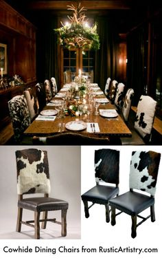 LOVE these rustic cabin cowhide dining chairs!